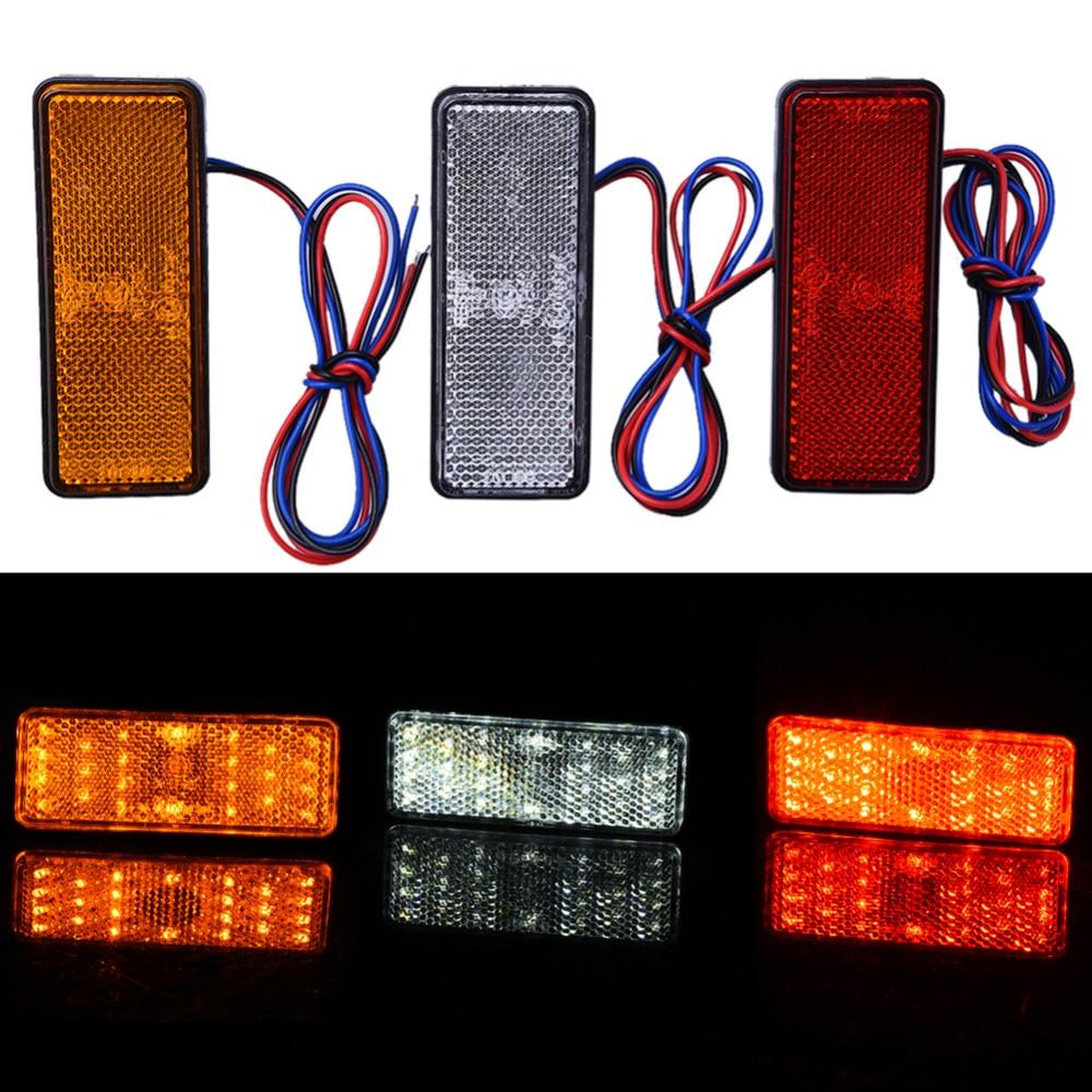 12V ունիվերսալ LED լույսի ռեֆլեկտոր Սպիտակ կարմիր դեղին հետևի պոչի արգելակի կանգառի նշիչ լույս JEEP SUV բեռնատարի կցորդի մոտոցիկլ մեքենայի համար
