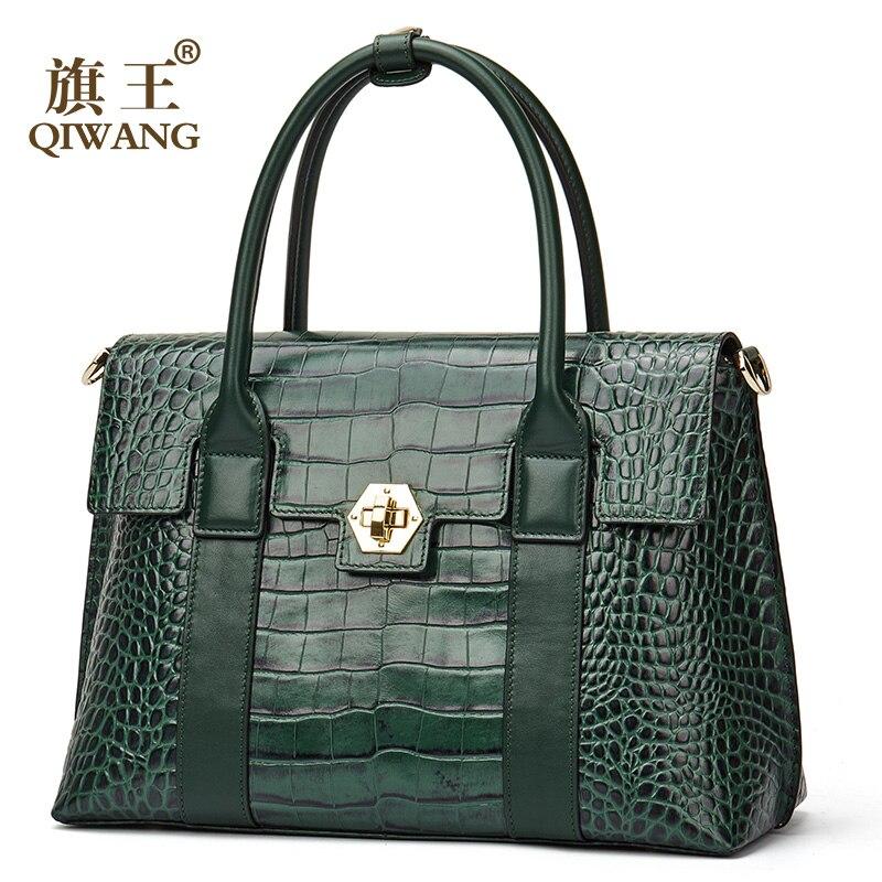 Qiwang luxury brand handbag women large green lock Tote bag female high quality genuine leather tote