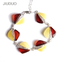 JIUDOU 925 Silver natural amber bracelet golden blood perfume wax handle retro jewelry about 25g design factory direct special