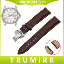 18mm 20mm 22mm Quick Release Genuine Leather Watch Band for Seiko Men Women Butterfly Buckle Strap Wrist Bracelet Black Brown
