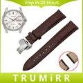 18mm 20mm 22mm de Liberación Rápida de Cuero Genuino Venda de Reloj para Seiko Hombres Mujeres Hebilla de Mariposa Correa de Muñeca pulsera Negro Marrón