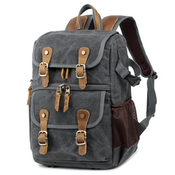 Professional Leather Canvas Camera Bag Outdoor Waterproof Photography Backpack Vintage Shoulder Bags for DSLR/Lens/Accessories