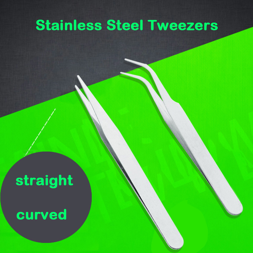 1PC Stainless Steel Industrial Anti-Acid Tweezers Straight Curved Forceps Watchmaker Repair Tools Nail Eyebrow Repairing Tweezer