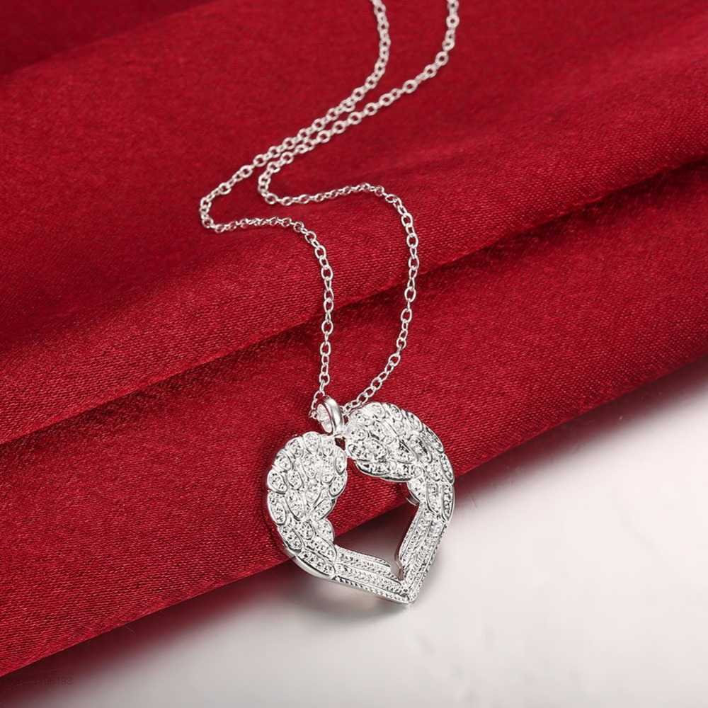 Elegant Angel Wing Design Hollow Love Heart 925 stamped silver plated Pendant Cute Link Chain for Women Necklace Jewelry