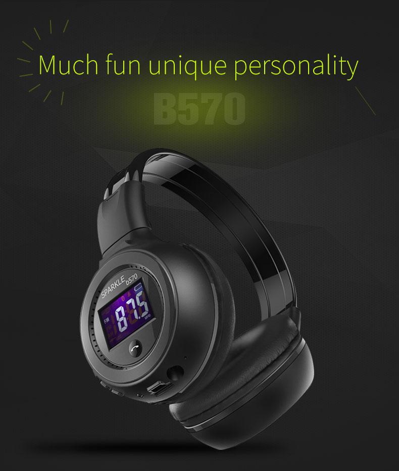 Zealot B570 Earphone Headphone with LCD Screen Bluetooth Headphone Foldable Hifi Stereo Wireless Headset FM Radio TF SD Slot 22