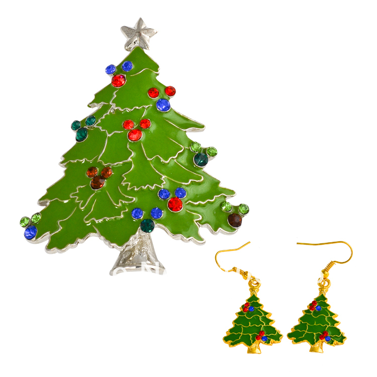 Free Shipping Dress For Graduation Jewelry Sets Decorative Rhinestone Christmas Tree Wedding Jewelry Set X0888