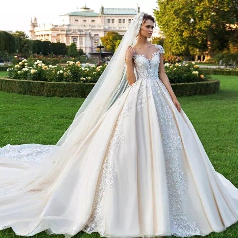 Vintage Vestidos Novias Boda Cap Sleeve Luxury Ball Gown Wedding Dress 2019 With Veil Robe De Mariee Princesse De Luxe Gelinlik