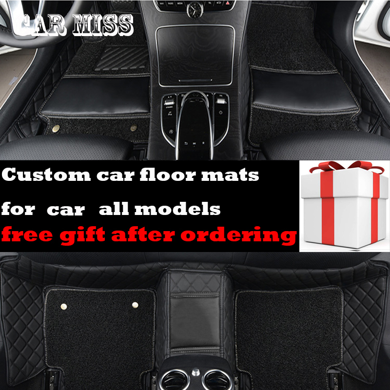 custom Double layer logo car floor mats for ford fiesta mk7 mondeo transit custom figo explorer f150 everest kuga fusion car mat