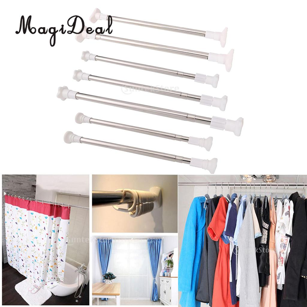 MagiDeal Quick-Fit Stainless Steel Extendable Curtain Rods Telescopic Window Poles for Wardrobe Shower Curtains Organizer Rack