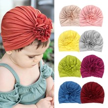New Baby Hat Flower Cotton Cap for Girls Turban Infant Photography Props Kids Beanie Accessories 16 Colors