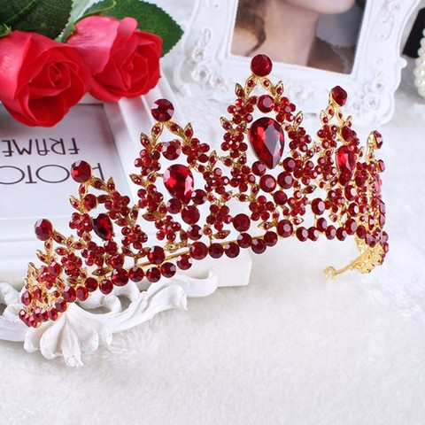 Vintage Prom Pageant Wedding Red Tiaras And Crowns 2017 Headband Hairband Bridal Rhinestone Pageant Tiaras Crowns Hair Jewelry Multan