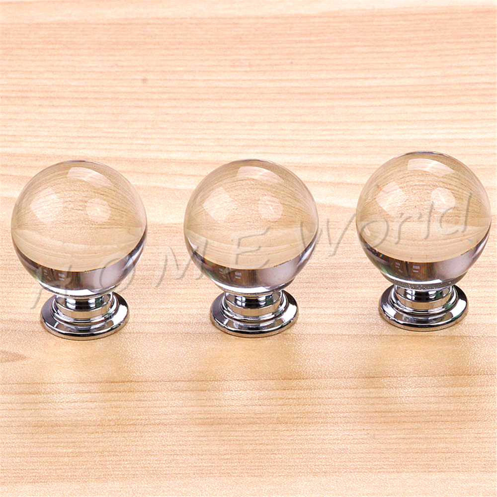Crystal Glass Alloy Transparent Round Ball Door Handles Cabinet ...