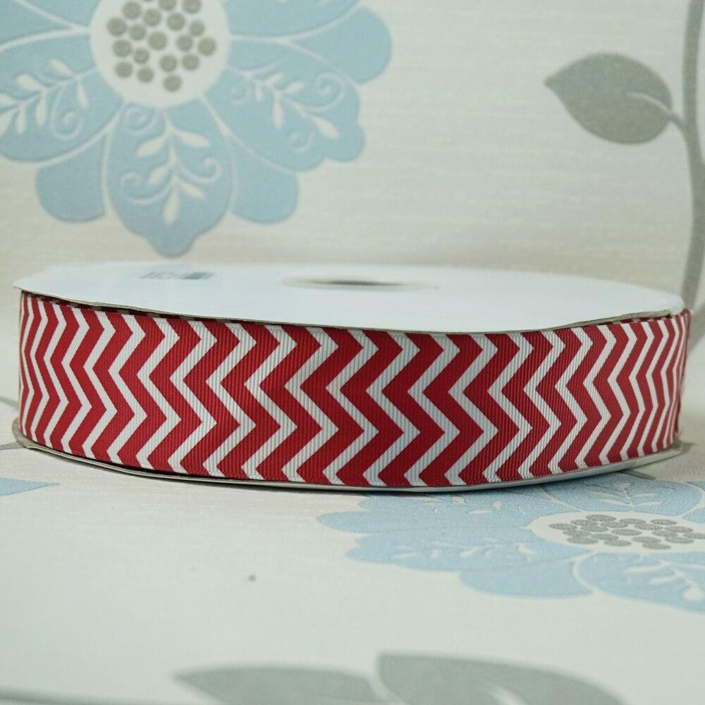 Распродажа 1-1/2 «38 мм белый с красным шеврон печатных Grosgrain ленты DIY Волосы Луки Детские/ детская ремесел 100 ярдов
