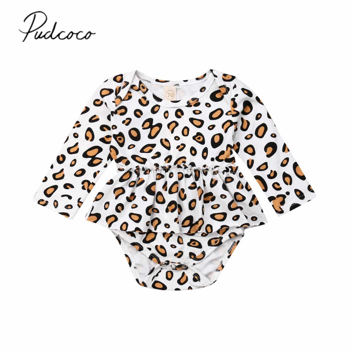 2019 Baby Lente Herfst Kleding Pasgeboren Baby Baby Meisje Luipaard Kleding Zoete Bodysuit Verstoorde Jumpsuit Jurk Longsleeve Outfits