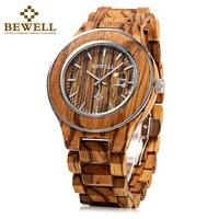 BEWELL Men Luxury Brand Green Sandal Wood Watches Full Wooden Quartz Watch Handmade Wristwatches Zebrano Dial