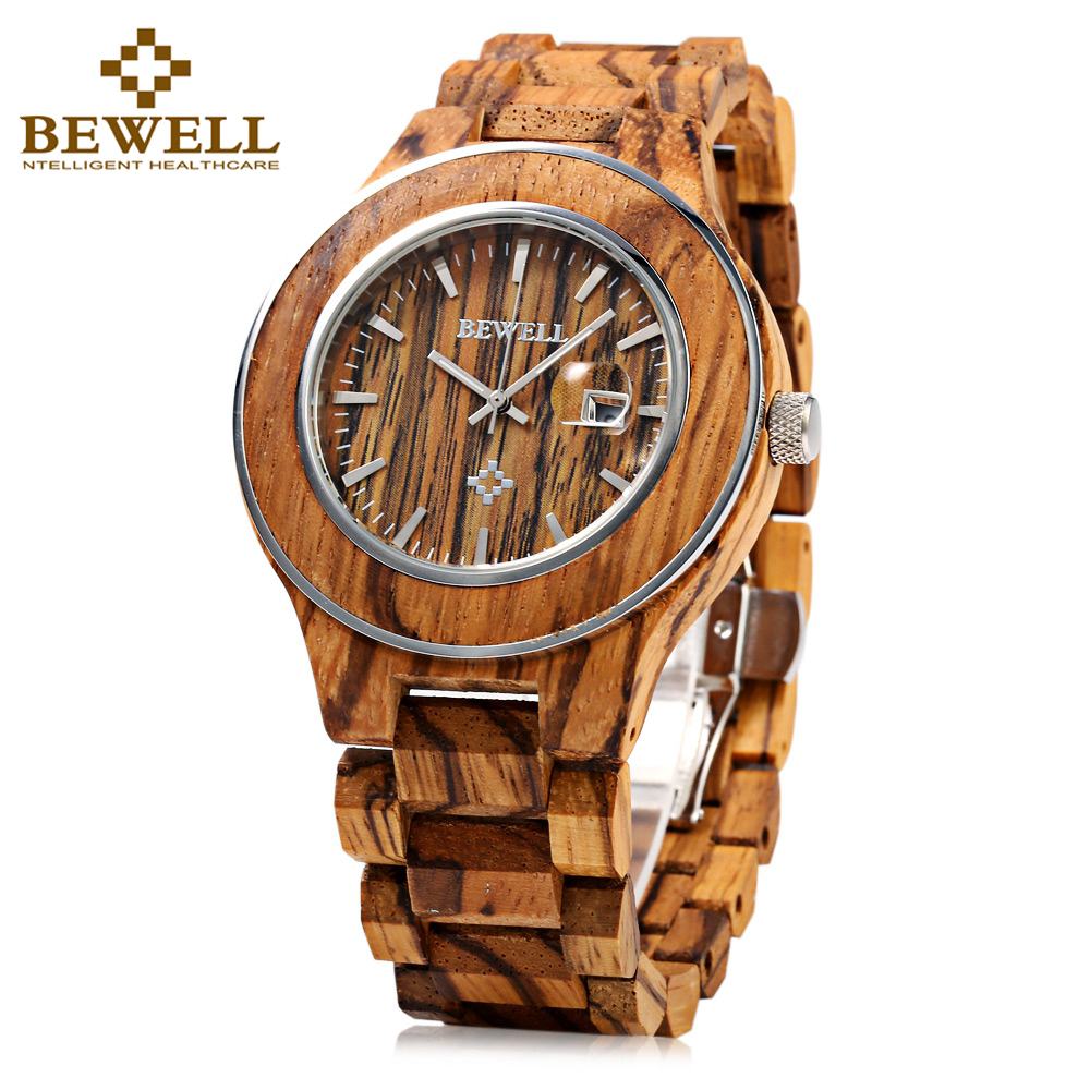 2017 Top brand luxury BEWELL Wood Watch Men Sport Analog Display Date Quartz Mens Watches male Wristwatch 100BG Clock Hand Women fashion top gift item wood watches men s analog simple hand made wrist watch male sports quartz watch reloj de madera