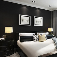 Solid Color Silk Black Frosted Wallpaper Modern PVC Waterproof Imitation Leather Pattern Wallpaper Bedroom Papel De