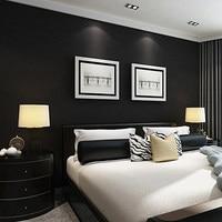 Solid Color Silk Black Frosted Wallpaper Modern PVC Waterproof Imitation Leather Pattern Wallpaper Bedroom Papel De