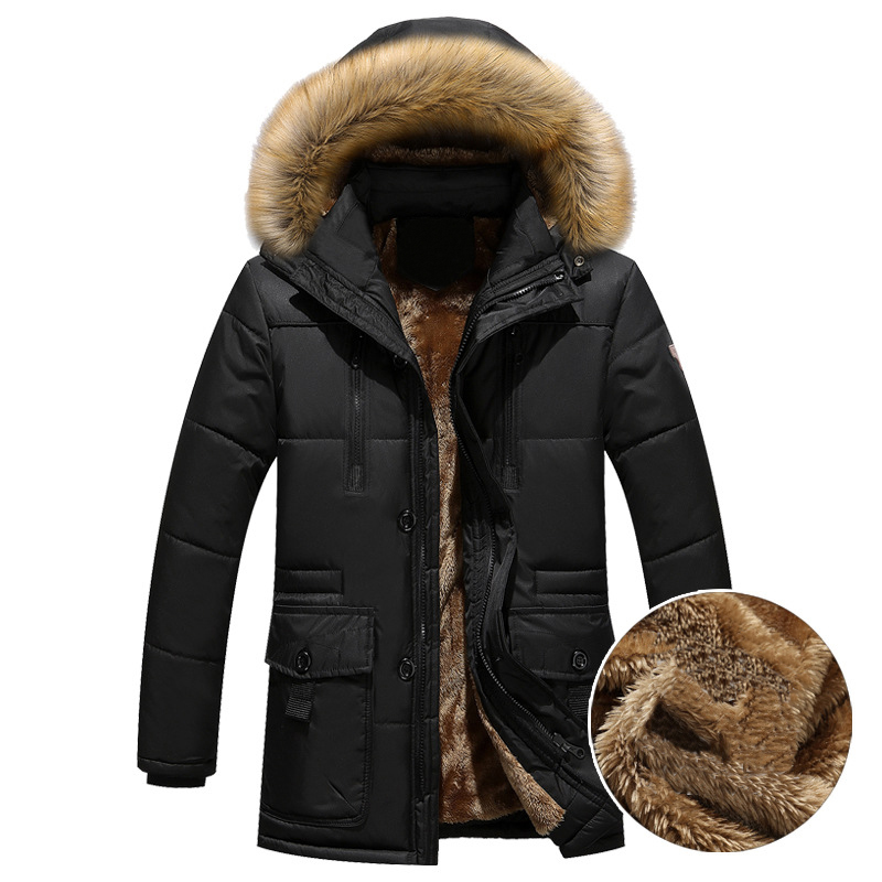 Thick Warm Winter Parka Men Fleece Fur Hood Men Winter Jacket Coat Military Cargo Medium-long Mens Overcoat ABZ109