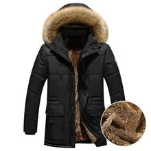 Thick Warm Winter Parka Men Fleece Fur Hood Men Winter Jacket Coat Military Cargo Medium long Mens Overcoat ABZ109