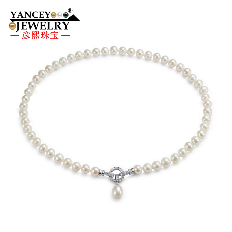 YANCEY 2017 New Real Freshwater Natural Pearl Necklace 7 8MM Fine font b jewelry b font