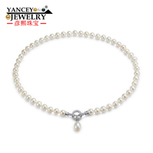 YANCEY 2017 New Real Freshwater Natural Pearl Necklace 7-8MM Fine jewelry For Women necklace Jewelry Pearl, S925 silver