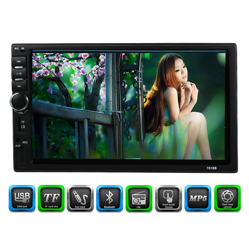 7'' Universal 2 Din HD Bluetooth New Car Radio MP5/MP4/MP3 USB/TF Stereo FM Aux Input with Rear View Camera for Sedan SUV 4WD 8001 car mp5 player 7 inch 2 double din navigation bluetooth radio tuner fm with aux usb sd slot remote control rear view camera