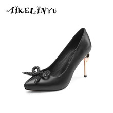 AIKELINYU Sexy Women Pumps Fashion Pointed Toe Thin High Heel Genuine Leather Lady Elegant Bow Wedding Shoes