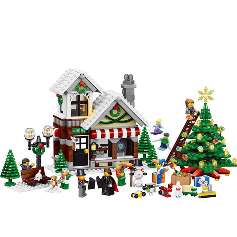 945pcs Diy The Winter Toy Shop And Christmas Tree Model Building Blocks Compatible With Legoingly Bricks Toys Gift For Children solar electronic building blocks children s electrical science and education diy toys christmas gift