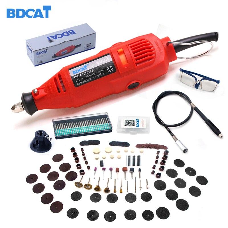 BDCAT 180 W grabado eléctrica Dremel herramienta rotativa Mini taladro de velocidad Variable rectificadora con 180 piezas herramientas eléctricas Accesorios