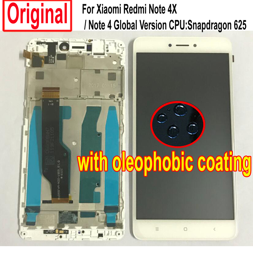 LTPro Original Sensor LCD Display Touch Screen Digitizer Assembly with Frame For Xiaomi Redmi Note 4X / Note 4 Global Version