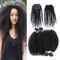 Brasileiros Kinky Curly 4 Bundles com Lace encerramento barato brasileira extensão do cabelo Rosa não transformados 8A virgem cabelo humano tece