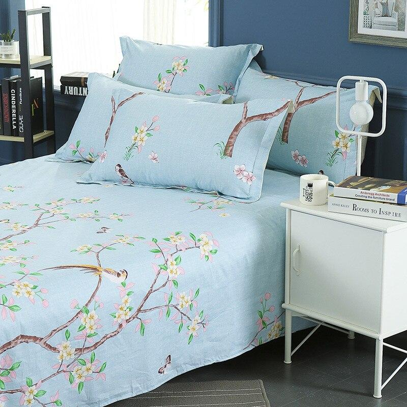 100% Katoen Moderne Mode Bed Bloemen Bloemen En Bomen Afdrukken Patroon 3 Stuks Lakens Kussensloop Grote Maat 230x250 Cm Hoge Kwaliteit En Goedkoop