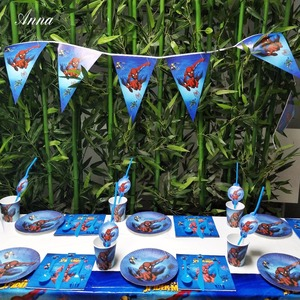 Image 3 - 82pcs Spiderman Birthday Party Supplies Disposable Plate/Cup/Tablecloth/Fork/spoon napkin Baby Shower Decoration kids Favors
