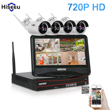 10 Inch Displayer 4CH 720P Wireless CCTV System Wireless NVR IP Camera IR-CUT Bullet Home Security System CCTV Kit Hiseeu