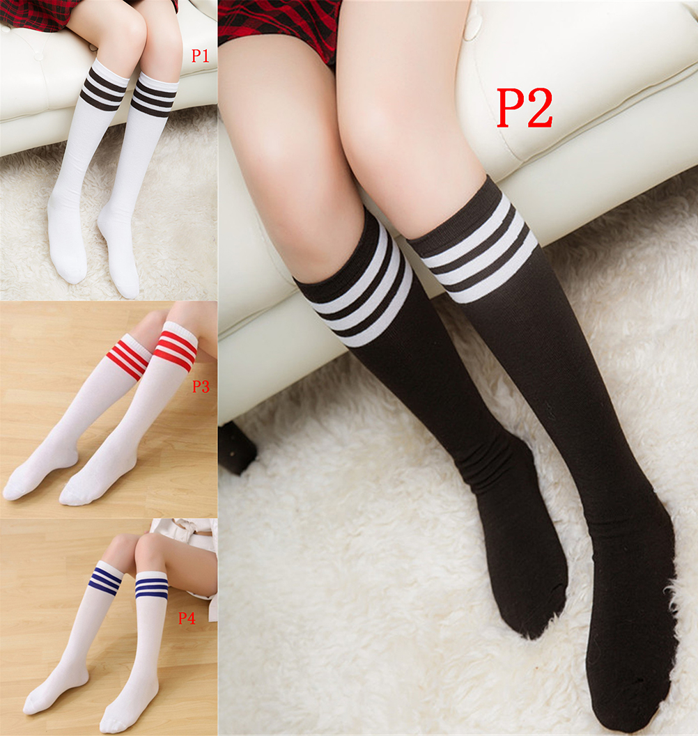 Cotton Ladies Knee High 3 Line Striped Cotton Socks Knee High Women Solid Socks School Party Cheerleader Supplies 4 Clour