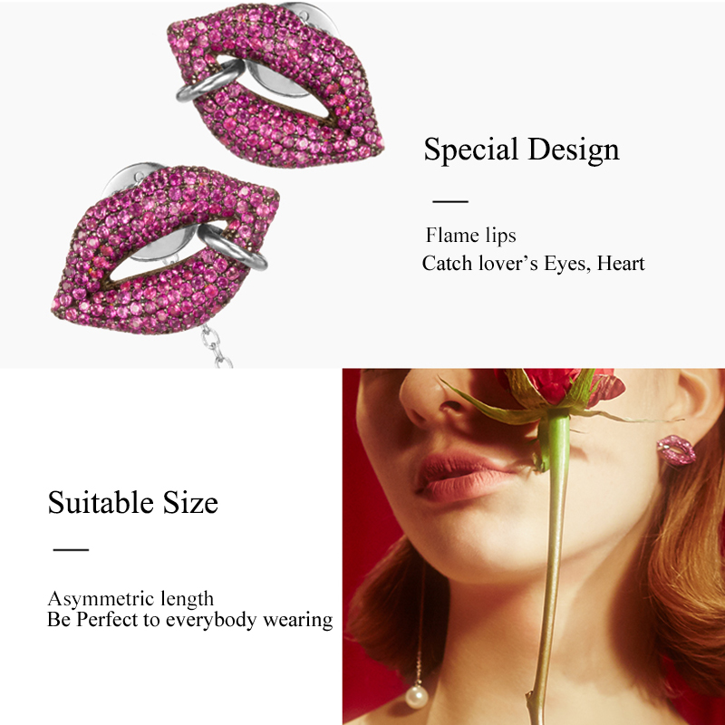 Image 5 - Famous Red Lips Mismatch Long Earrings Cubic Zirconia Pave Simulated Pearl Drop Earrings For Women Party Fashion Jewelry AE298-in Drop Earrings from Jewelry & Accessories on AliExpress