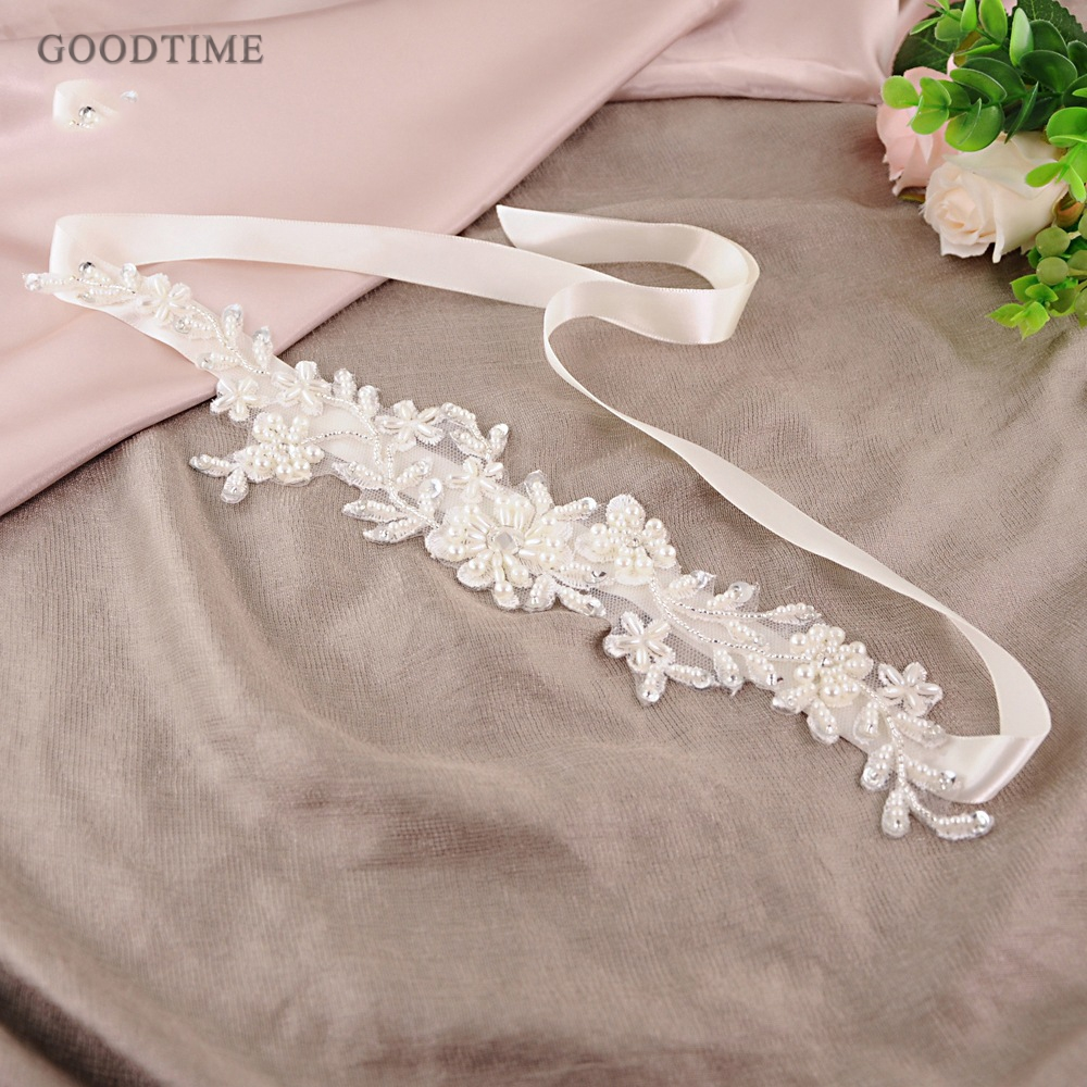Fashion Women Wedding Dress Belt Lace Applique Flowers Wedding Dress Pearls Wedding Belt Crystal Bridal Sash For Party Girl