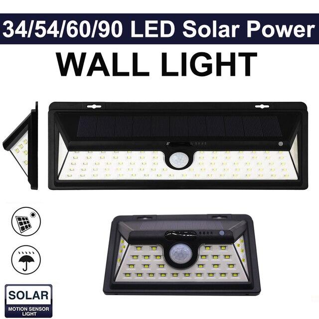Waterproof 34/54/66/90 LED Solar Light Outdoor Garden Light PIR Motion Sensor Emergency Wall Solar Lamp 3.7V IP65 Waterproof