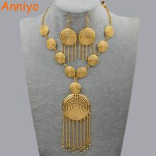 Anniyo African Wedding Jewellery Set Necklace Earrings for Women Gold Color Ethiopian Jewelry Nigeria/Brazil/Dubai Gift #083906(China)