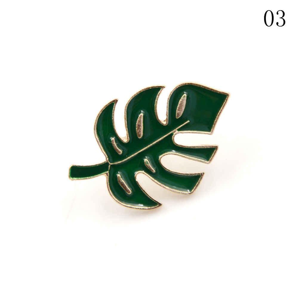 Desenhos animados planta verde coqueiro mexicano cactus folha de metal broche pinos botão diy pino denim jaqueta pino crachá presente jóias