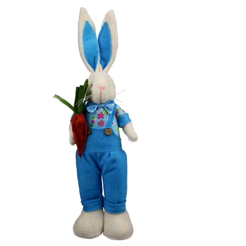 47cm Rabbit Doll Standing Two Styles Bunny Figurine Holding Flowers Kawaii Rabbit Plush Doll Rabbit Figurine Holding Carrot