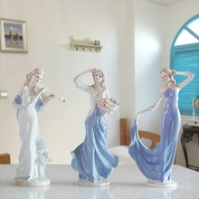 Europe Ceramic Beauty Figurines Home Furnishing Crafts Decoration Western Porcelain handicraft Ornament Wedding Gift A $