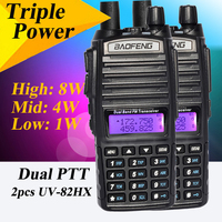 2 Pcs Baofeng UV82HX UHF VHF 8W Dual Band Dual Display Watch FM Radio Transceiver Radio