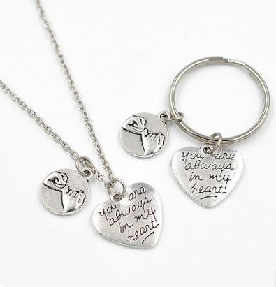 Fashion Key Chain With English Letter You Are Always in My Heart  and Hands Holding Image Best Gift For Lover