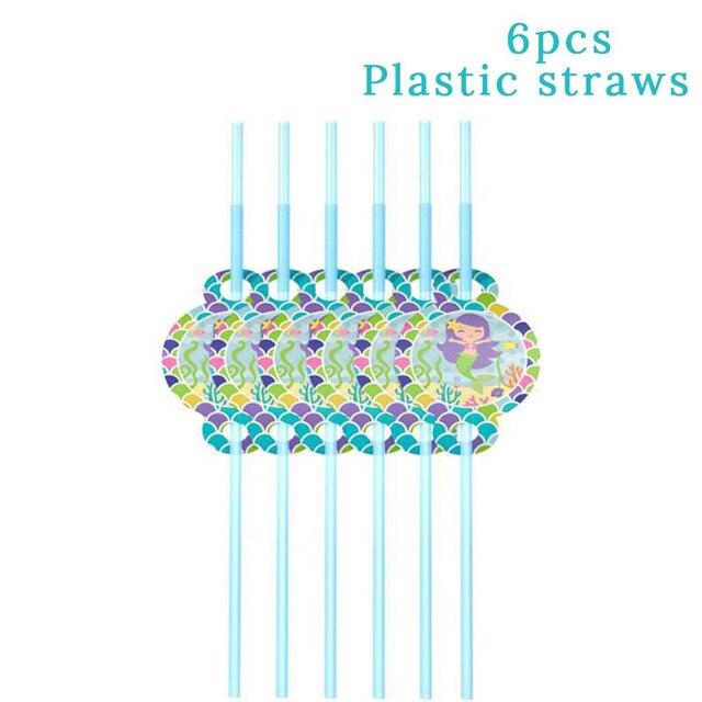 6pcs Plastic Straws Mermaid party plates 5c64f5cb30ecd