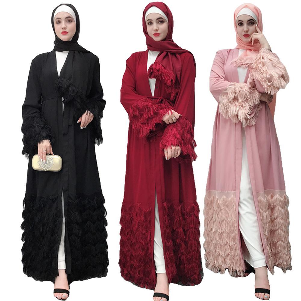 Caftan Dubai Abaya Kimono Robe ouverte Cardigan Jilbab Robe musulmane Abayas pour femmes Caftan turc islamique longue Robe vêtements