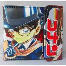 Japanese Anime Case Closed Folding PU Short Wallet/Conan & Sherry Button Purse