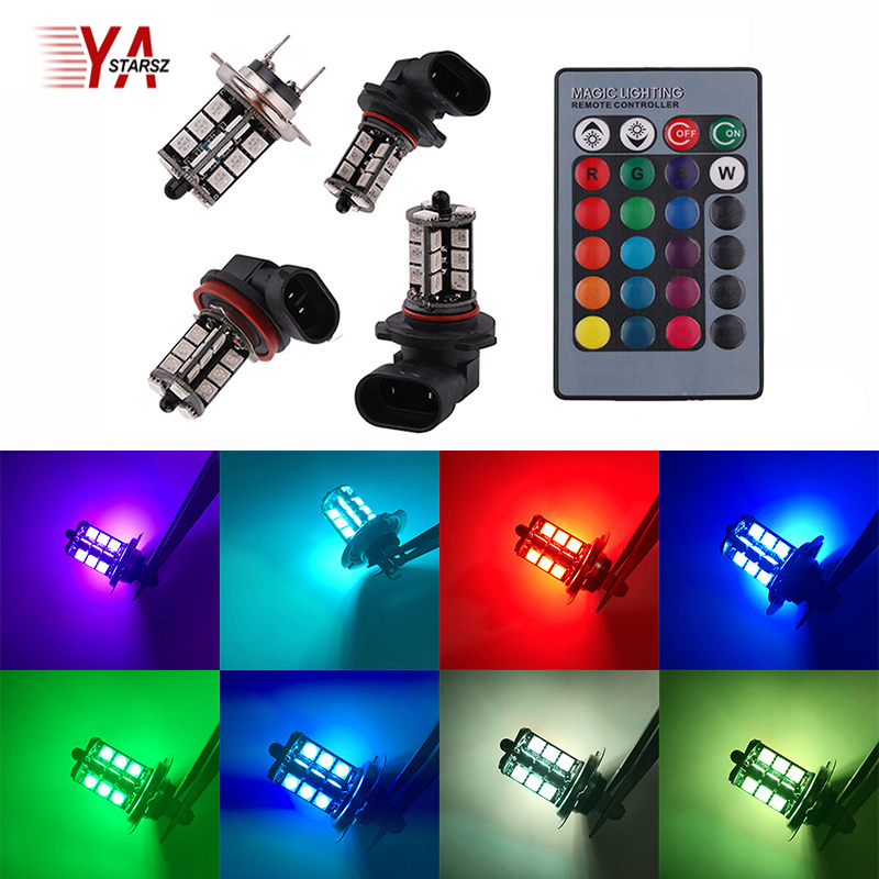 2pcs 9005 9006 H11 H7 H4 RGB LED Auto Car Headlight 5050 LED 27 SMD Fog Light Head Lamp Bulb With Remote Control Car Styling