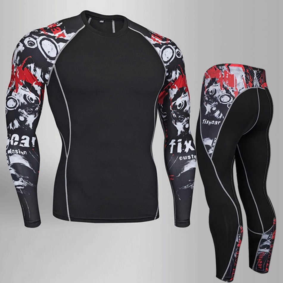 MMA conjunto de ropa para hombre Pantalones de entrenamiento Bodybuilding camiseta jogging Pantalones Hombre rashgard kit de compresión ropa interior térmica